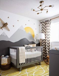Paint a landscape mural on your little one's nursery wall. One wall is all you need to make an impact.