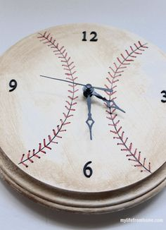 DIY Baseball Clock with Wooden Round & Clock Parts | My Life From Home | by www.mylifefromhome.com