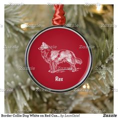 Shop Border Collie Dog White on Red Custom Name Metal Ornament created by LeonOziel. Collie Dog, Border Collie, Christmas Holidays, Christmas Ornaments, Gift Ideas, Decorating, Holiday Decor, Metal, Easy
