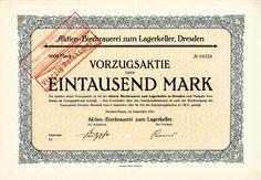 Aktien-Bierbrauerei zum Lagerkeller, Dresden, Aktie von 1921 + AUFLAGE NUR 150!