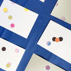 Set de 8 grandes cartes motif gommettes multicolore par JeanneZam