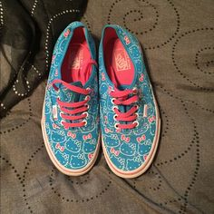 Hello Kitty Vans Never see these around anymore, but I bought them about 2 years ago and have worn them about 2-3 times. No stains, no tears, perfect for Vans lovers. They're a men's 7 but a women's 8.5! Will ship out Monday ❤️ Vans Shoes Sneakers