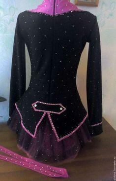 Купить Костюм для фигурного катания - черный, однотонный, костюм для выступления, фигурное катание, лед, спорт