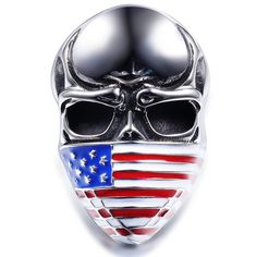 tungsten rings for men  Sterling Silver Ring American Flag Mask 19.99$