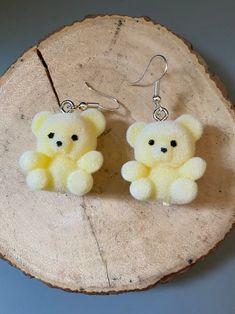 Ear Jewelry, Cute Jewelry, Jewelry Crafts, Jewlery, Funky Jewelry, Funky Earrings, Earrings Handmade, Yellow Earrings, Korean Accessories