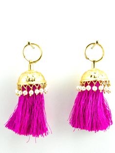 Flamingo Jhumka earrings with Faux Pearls and Hot Pink threads