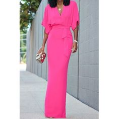 Alluring V-Neck Dolman Sleeve Self-Tie Maxi Dress For Women Casual Dresses For Women, Dresses For Sale, Clothes For Women, Long Dresses, Simple Dresses, Diy Clothes, Dresses Online, Maxi Dress With Sleeves, Half Sleeves