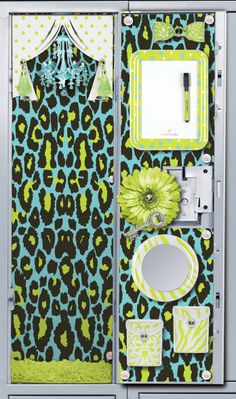 Locker Decoration. Love the animal print and colors.