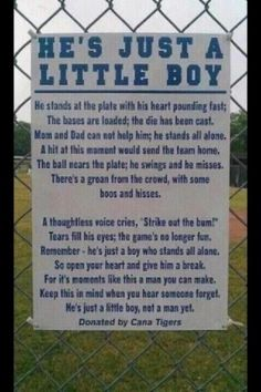 This sign should be placed at all childrens activities boys and girls alike. They're children parents not professionals.