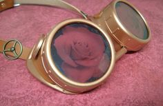 Steampunk Goggles Victorian Copper Glasses Rose Lenses