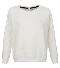 White Floral Jacquard Zip Back Sweater   Mooie witte trui met een rits achterop