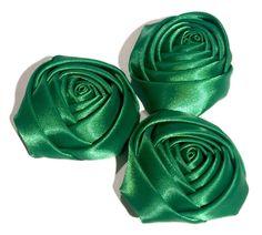 """Emerald green 2"""" satin rolled rosette flower"""