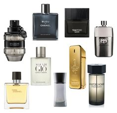 """Men's perfume favorites"" by cherrie-pie on Polyvore featuring Viktor & Rolf, Chanel, Gucci, Giorgio Armani, Tom Ford, Hermès, Paco Rabanne, Yves Saint Laurent, mens and men"