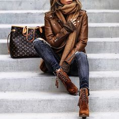 All Brown. Leather jacket, skinny jeans, winter scarf and Louis Vuitton bag for stylish outfit.