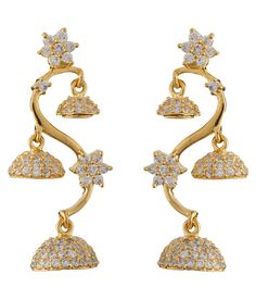 Chaahat Fashion Jewellery Golden Antique Push Back Jhumkis
