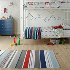 Buy little home at John Lewis Striped Children's Rug, Blue, x from our Rugs range at John Lewis & Partners. Childrens Rugs, Striped Rug, Little Houses, John Lewis, Kids Bedroom, Nursery, Kids Rugs, Stuff To Buy, Blue