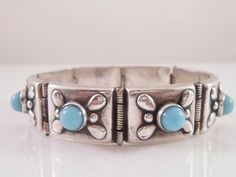 Sterling Turquoise Bracelet Mexico Panel Link by Libbysmomsvintage