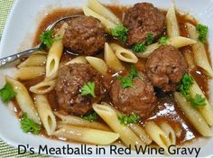 D's Meatballs in Red Wine Gravy -   This is an excellent recipe for meatballs and gravy. The meatballs are light and flavorful with red onion and allspice. They are browned in a bit of virgin olive oil and cooked in beef stock and red wine. A must try! http://100waystopreparehamburger.blogspot.ca/