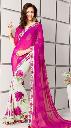 Floral Printed White And Pink Georgette Kitty Party Saree