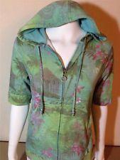 floral zip Hoodie | ... TEA Women's Green Embellished Floral S/S Full Zip Hoodie Jacket Medium