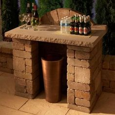 Compact Bar - Use pavers and a DIY concrete top or wood. Bar Patio, Outdoor Kitchen Patio, Diy Outdoor Bar, Outdoor Stone, Backyard Bar, Backyard Landscaping, Outdoor Living, Backyard Ideas, Patio Ideas