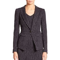 Armani Collezioni Reptile Jacquard Knit Jacket ($1,490) ❤ liked on Polyvore featuring outerwear, jackets, apparel & accessories, jacquard jacket, armani collezioni jacket, black jacket, armani collezioni и black knit jacket