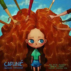 Cafuné, do português brasileiro: o ato de correr os dedos pelos cabelos de alguém ternamente.  Artista: Maria Tiurina