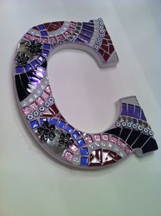 Glass Mosaic Letter C in purple, pink, violet shades. Commissioned letter by a customer. Bellamosaics@yahoo.com