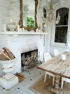 Around the kitchen fireplace