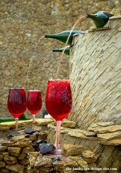 wine bottle & glasses fountain