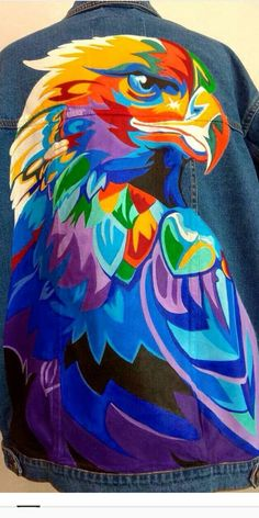 Leon Falke Pop Art, Arte Pop, Colorful Drawings, Art Drawings, Eagle Art, Polygon Art, Denim Art, Colorful Animals, Hippie Art