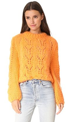 ¡Consigue este tipo de jersey de punto de Ganni ahora! Haz clic para ver los detalles. Envíos gratis a toda España. Ganni Faucher Sweater: An ultra-soft Ganni sweater gains vintage appeal from a mock neckline and wide sleeves. Open-knit construction. Sheer. Fabric: Chunky open knit. 50% mohair/50% wool. Hand wash. Made in Italy. Measurements Length: 20.5in / 52cm, from shoulder Measurements from size S (jersey de punto, pullover, lana, knitted, cotton, knit, knits, stitch, cashmere…