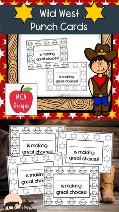 Punch cards are a great way to recognize a student's positive behavior and make a great addition to your classroom management resources. My Wild West punch cards are accented with western graphics and come in 2 styles. Print on cardstock for best results. #teacherspayteachers #tpt #classroommanagement #behavior #backtoschool Positive Behavior, My Teacher, Wild West, Classroom Management, Punch, Back To School, Card Stock, Graphics, How To Make