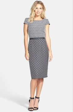 in LOVE with this graphic black and white print sheath dress