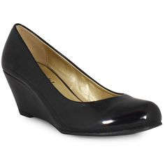 Womens Ladies Black Patent Low Heel Wedge Casual Work Posh Court ...