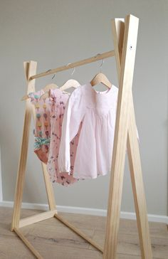 Kids Clothes Rack / Dress Up Rack / Costume Rack / Clothes Storage - Natural