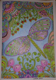 CREATIVE HAVEN, Entangled Dragonflies, colored by Linda Koenig