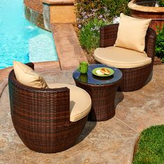 Create a cozy and intimate spot for two with the Perry 3-piece patio set. The set includes a round table with a tempered glass top and two (2) cup-shaped chairs with cushions.