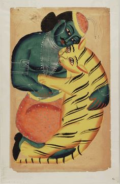 Kalighat paintings: Man with tiger. 1875. 44,5 x 28cm