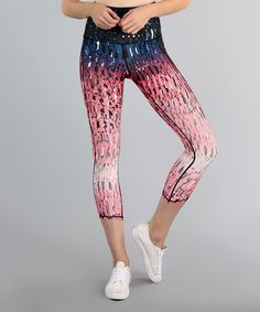 Look what I found on #zulily! Pink Rainbow Waves Capri Leggings #zulilyfinds