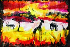 African Safari - tissue paper and marker, shows step by step