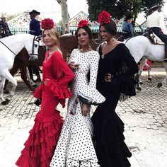 The girls of spring at the Seville Fair (La Feria de Abril).Traditional colours of the Goddess Flamenco Party, Spanish Style Weddings, Spanish Dress, Look 2015, Black Polka Dot Dress, Polka Dots, Spanish Fashion, Bohemian Lifestyle, Dance Dresses