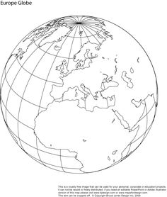 World globe showing North America, download and use for schools or craft projects. Printable, blank, royalty free globe