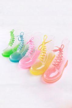 Fashion Sheer Lace-up Rain Boots, Shoes, pink lace up boots fashion boots, Chic Cute Shoes, Me Too Shoes, Women's Shoes, Transparent Boots, Rain Boots Fashion, Kawaii Shoes, Harajuku, Crystal Fashion, Boating Outfit