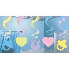 Dekoracja wisząca Baby Shower kolorowa.  Doskonała dekoracja na przyjęcie z okazji narodzin lub roczek dziecka.