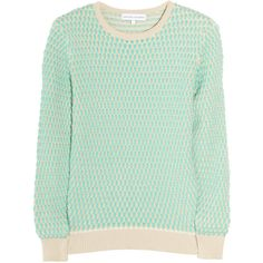 Jonathan Saunders Oval waffle-knit cotton sweater (8,820 MXN) ❤ liked on Polyvore featuring tops, sweaters, shirts, jumpers, waffle weave shirt, shirt sweater, waffle sweater, green shirt and green top