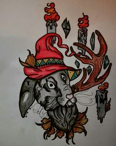 #rabbit #witch #magic #candle #tattoo #neotraditional #eye #nature #forest #style #crystal #diamond #alchemy