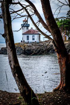 Lime Kiln Lighthouse on San Juan Island close to Friday Harbor, Washington.