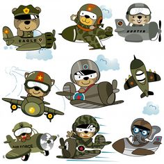Vector Set Of Military Planes Cartoon With Funny Pilots Cute Baby Elephant, Cute Giraffe, Cartoon Airplane, Airplane Pilot, Cute Cartoon Animals, Cute Animals, Cute Tigers, Army Girlfriend, Baby Shower Invitation Cards