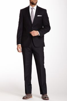 Black Pinstripe Two Button Notch Lapel Wool Suit on HauteLook
